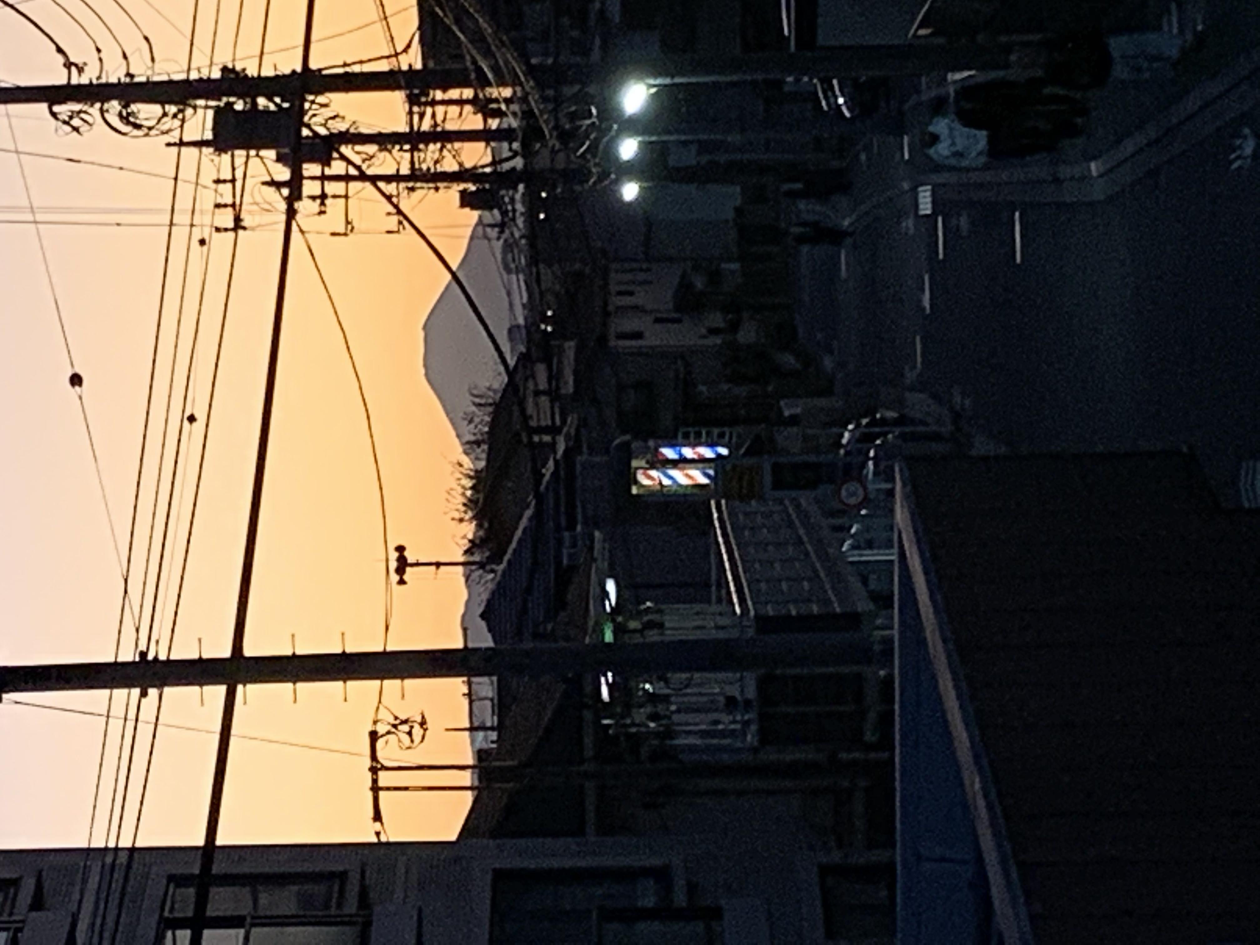 夕映えの富士山